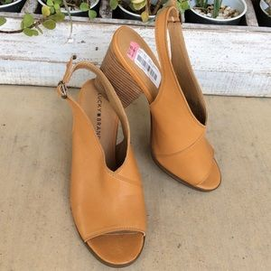 Lucky Brand Shoes - LUCKY BRAND LEATHER PEEP TOE SANDALS